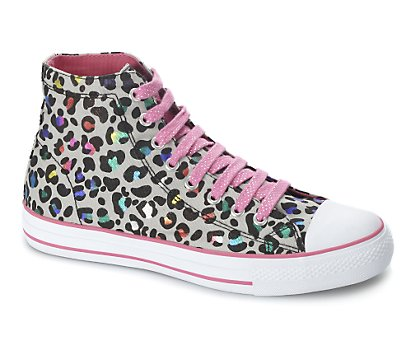 Rainbow leopard print high top trainer