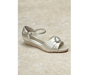 Octavia ivory brooch wedge bridesmaid shoes