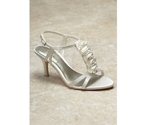 Elly ivory corsage t bar wedding shoes