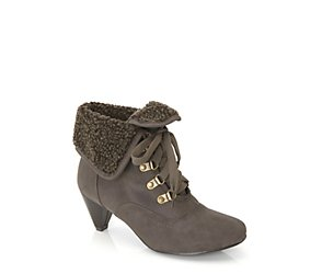 Borg trim heeled ankle boot
