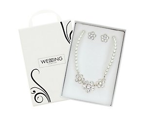 Pearl and diamante flower earring and necklace set