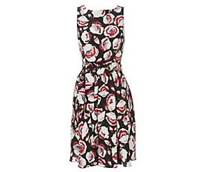 Wallis black and red rose shift dress