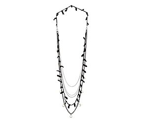 Black and silver multi row necklace