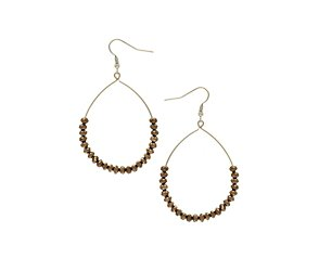 Facet bead hoop drop earring