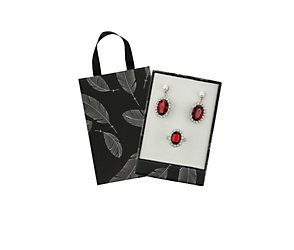 Pearl and red crystal earring and ring gift box