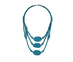 Multirow blue wood bead necklace