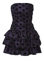 Flock spot tiered prom dress