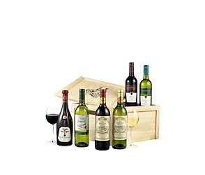 Six wines in wood gift set