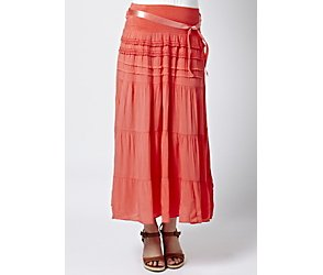 Voulez Vous coral tiered maxi skirt with detailing