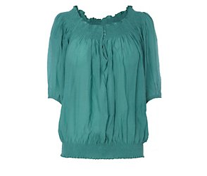 Jasmine jade ruched blouse
