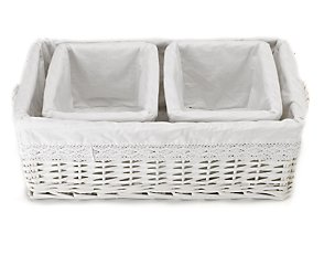 White willow set of 3 small baskets