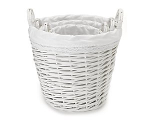 White willow set of 3 round baskets