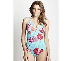 Paradise flower tummy control mock wrap swimsuit