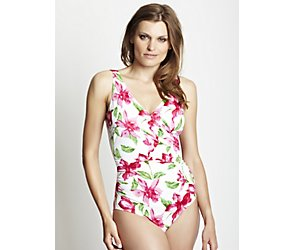 Mustique flower tummy control mock wrap swimsuit