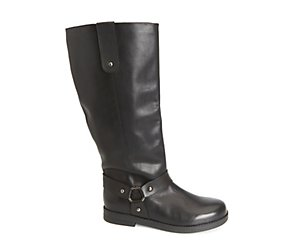Leather wide fit ring trim biker boots