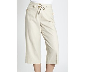 Linen blend formal cropped trousers