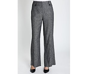 Linen blend tab detail trousers