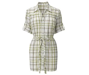 Longline belted check shirt