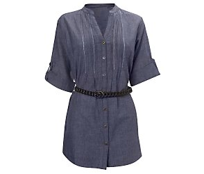 Chambray belted shirt