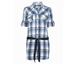 Brushed check belted shirt