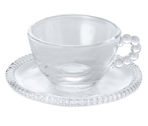 bhs Glass bead cup and saucer