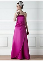 Evie fuschia satin bridesmaid dress