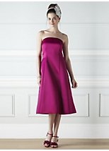 Anna fuschia satin bridesmaid dress