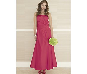 Margaux coral taffeta teen bridesmaid dress