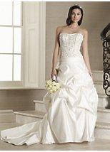 Allesandra satin strapless beaded bridal dress