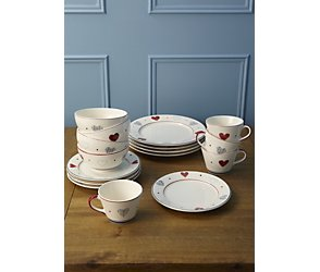 Padstow hearts 16 piece dinner set