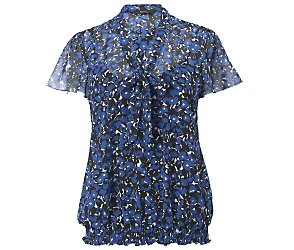 Short sleeve print shirred hem top