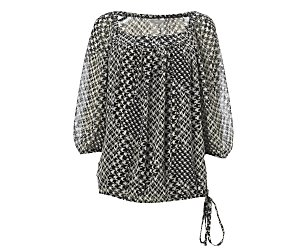 Dogtooth print blouse