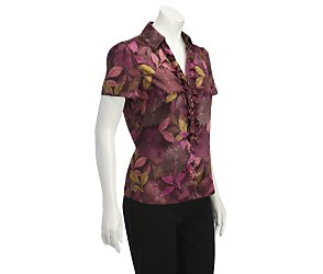 Short sleeve satin floral print blouse