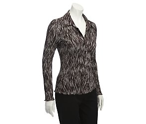 Long sleeve zebra print blouse
