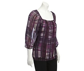 3/4 sleeve check satin stripe blouse