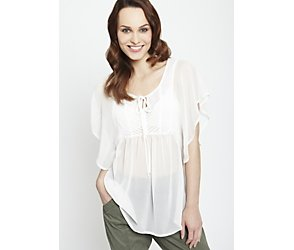 Butterfly sleeve pintuck blouse