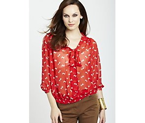 Pussy bow red daisy blouse