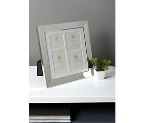 Silver plated bevelled multi aperture photoframe