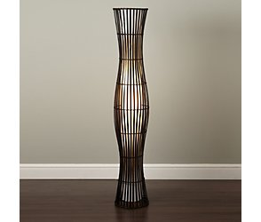 Waisted wicker floor lamp