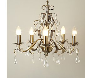 Leaf and pear drop 5 light chandelier