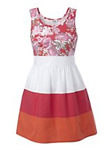 2 in 1 floral top colour block dress